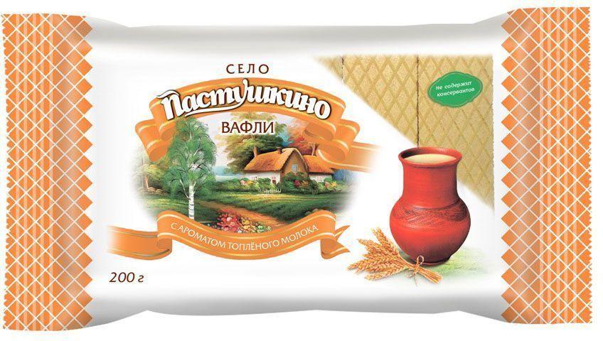 Село Пастушкино вафли с ароматом топленого молока, 200 г вафли коломенское со вкусом топленого молока 220г
