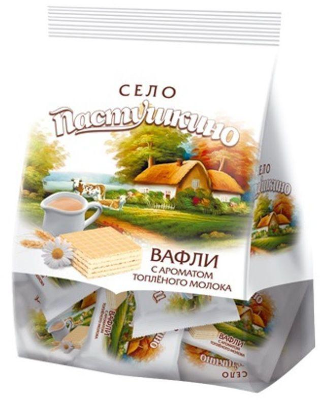 Село Пастушкино вафли с ароматом топленого молока, 250 г вафли коломенское со вкусом топленого молока 220г