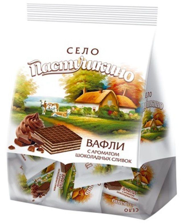 Село Пастушкино вафли с ароматом шоколадных сливок, 250 г вафли обожайка вкус сливки 225 г
