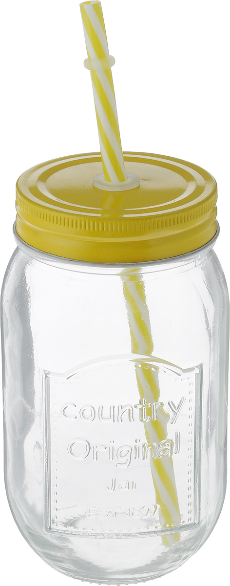 Емкость для напитков Zeller, с трубочкой, цвет: желтый, 480 мл19736_желтыйЕмкость для напитков Zeller выполнена из высококачественного прозрачного стекла. Внешние стенки дополнены рельефной надписью. Изделие снабжено плотно закрывающейся металлической крышкой с отверстием для трубочки.Эта емкость станет идеальным вариантом для подачи лимонадов, ароматных свежевыжатых соков и вкусных смузи. Такую емкость можно взять с собой на прогулку или пикник, отлично подойдет для использования дома. Диаметр (по верхнему краю): 6,5 см.Высота емкости (без учета трубочки): 14,5 см.Длина трубочки: 20 см.