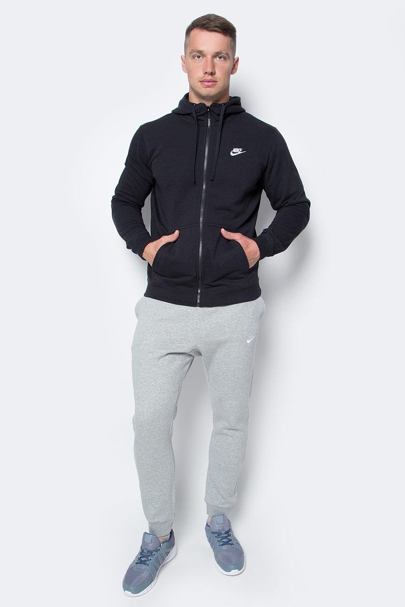 Толстовка мужская Nike Nshoodie Fz Flc Club, цвет: черный. 804391-010. Размер XXL (54/56)804391-010Мужская толстовка Nshoodie Fz Flc Club от Nike выполнена из хлопка с добавлением полиэстера. Модель с капюшоном и длинными рукавами застегивается на застежку-молнию. Спереди расположены два накладных кармана.