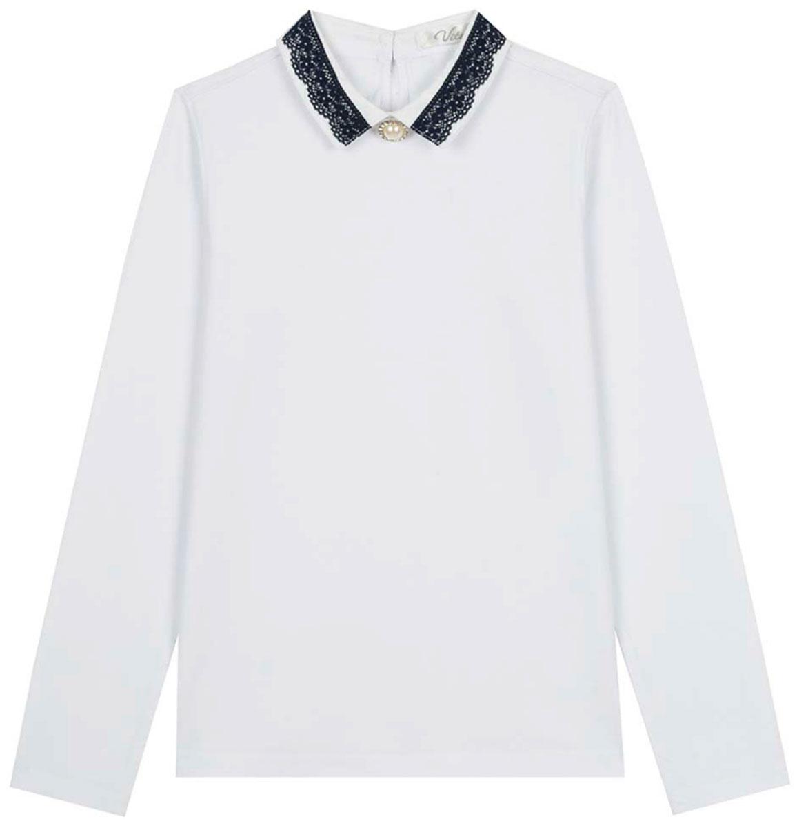 Блузка для девочки Vitacci, цвет: белый. 2173204-01. Размер 1222173204-01Школьная блузка для девочки от Vitacci выполнена из эластичного хлопкового трикотажа. Модель с длинными рукавами и отложным ажурным воротничком на спинке застегивается на пуговицы.
