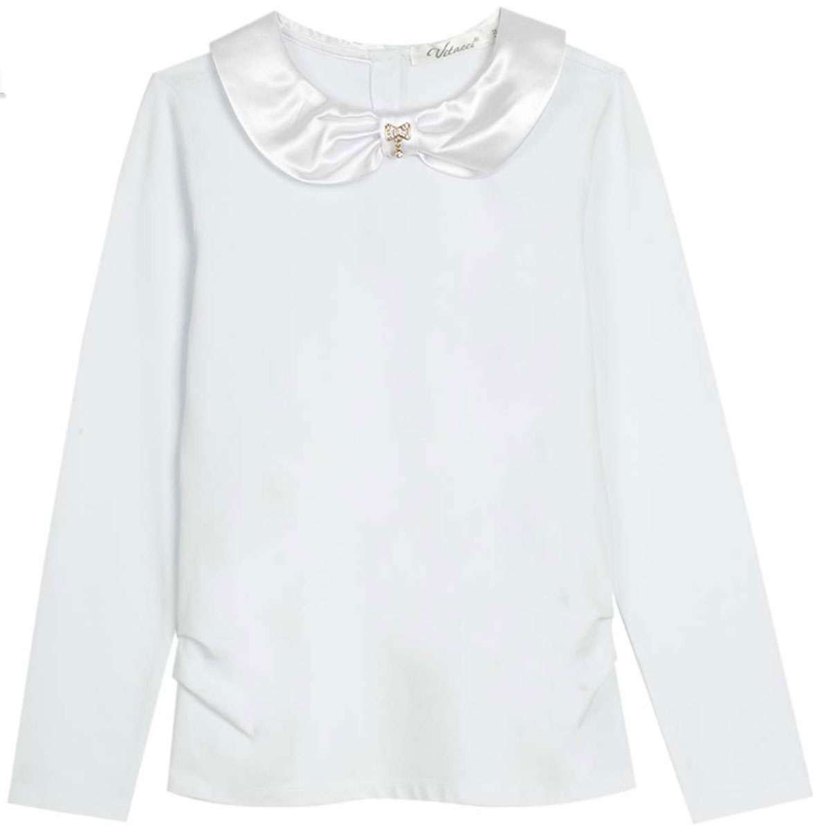 Блузка для девочки Vitacci, цвет: белый. 2173007-01. Размер 1342173007-01Школьная блузка для девочки от Vitacci выполнена из эластичного хлопкового трикотажа. Модель с длинными рукавами и отложным атласным воротничком на спинке застегивается на пуговицы.