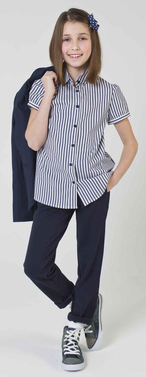 Блузка для девочки Gulliver, цвет: белый, темно-синий. 217GSGC2207. Размер 134217GSGC2207Если вы хотите купить школьную блузку для девочки, не ограничивайте свой выбор исключительно белыми блузками. Красивые блузки для школы могут быть разными! Блузка в полоску с коротким рукавом - отличный вариант на каждый день! Строгая, элегантная, комфортная, практичная, полосатая блузка сделает образ свежим и интересным.