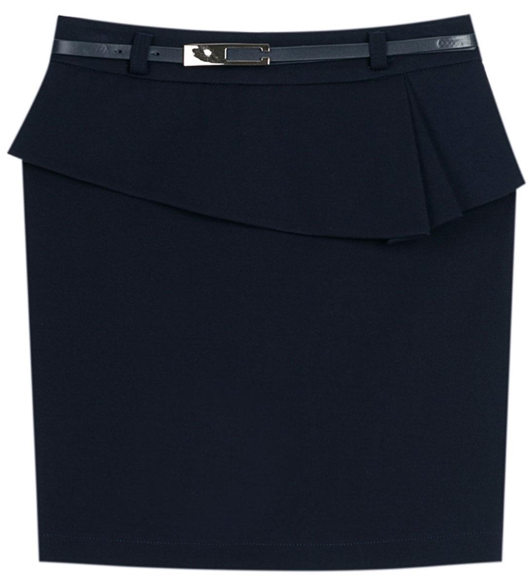 Юбка для девочки Vitacci, цвет: синий. 2173043L-04. Размер 1642173043L-04Стильная юбка для девочки от Vitacci выполнена из вискозы и нейлона с добавлением эластана. Модель дополнена ремешком и баской, застегивается на молнию.