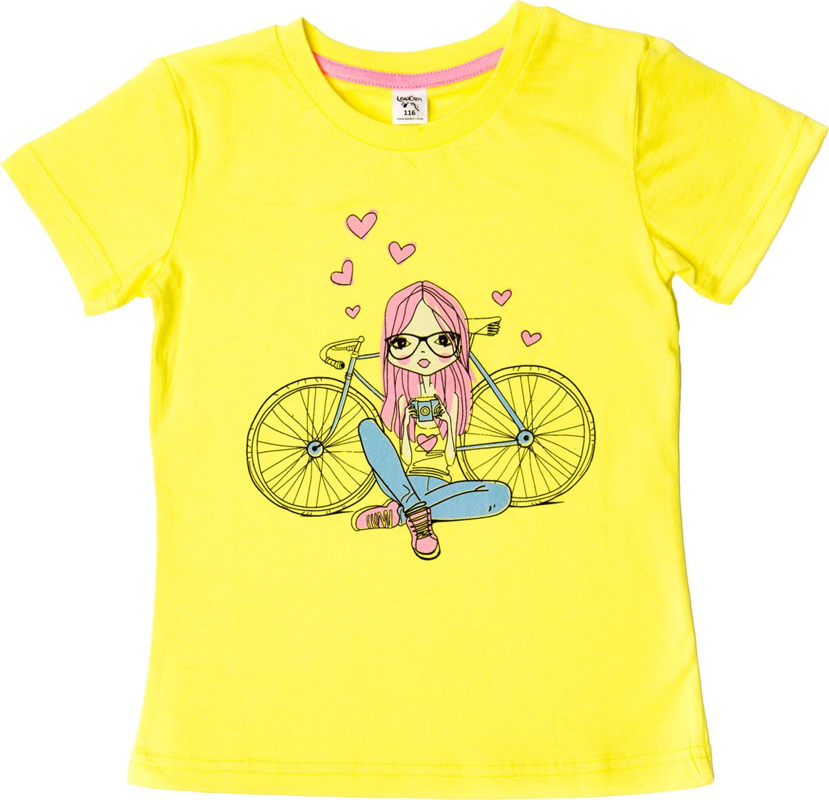 Футболка для девочки LeadGen, цвет: желтый. G613046915-171. Размер 122G613046915-171Футболка для девочки LeadGen выполнена из натурального хлопкового трикотажа. Модель с короткими рукавами и круглым вырезом горловины спереди оформлена принтом.