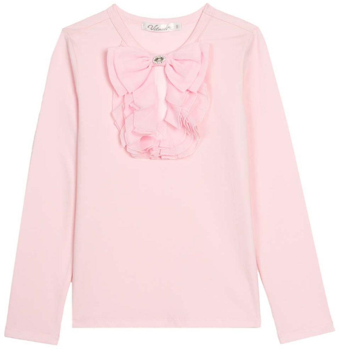 Блузка для девочки Vitacci, цвет: розовый. 2173082-11. Размер 1522173082-11Школьная блузка для девочки от Vitacci выполнена из эластичного хлопкового трикотажа. Модель с длинными рукавами и круглым вырезом горловины на полочке оформлена жабо.