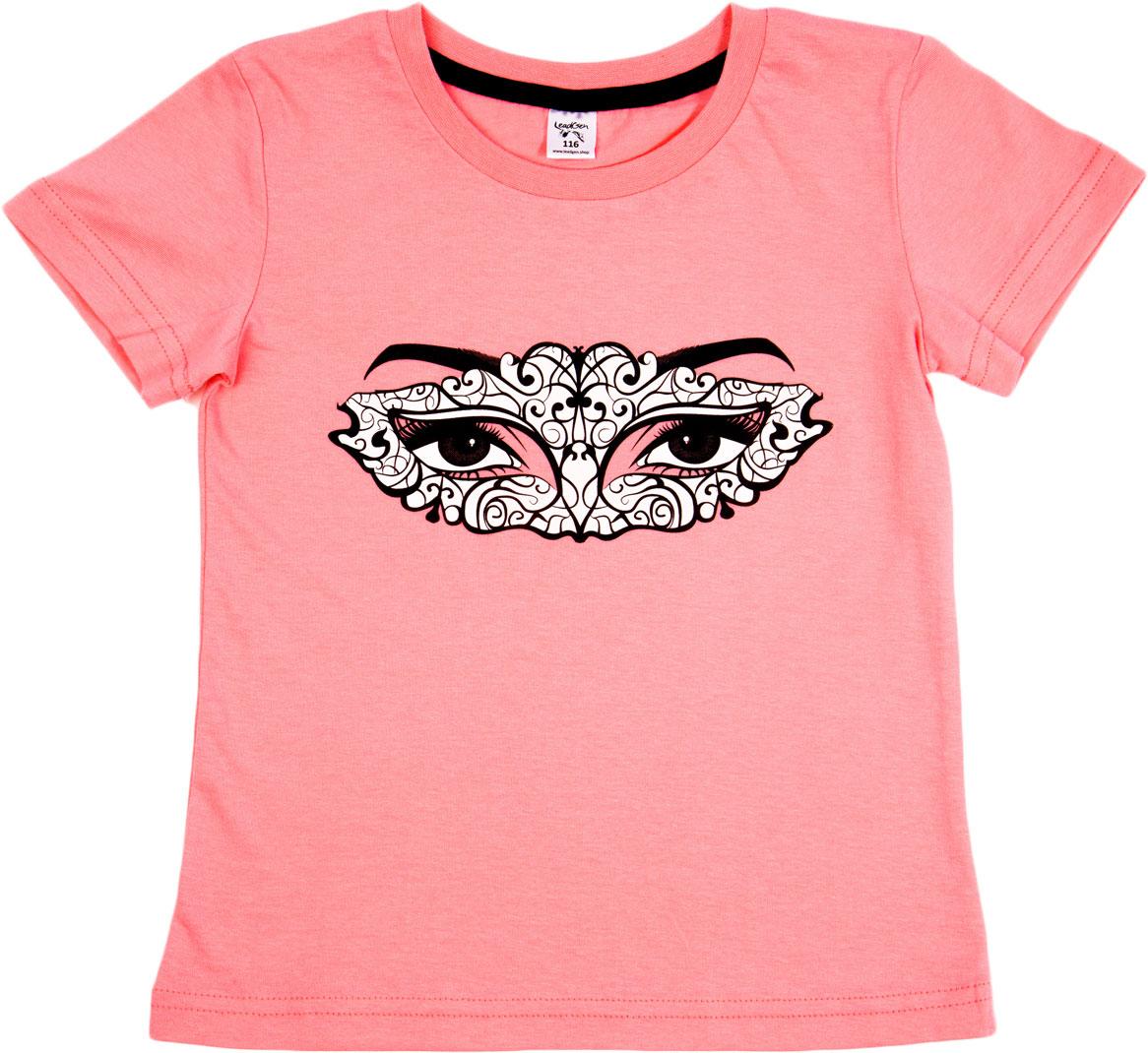 Футболка для девочки LeadGen, цвет: розовый. G613049016-171. Размер 110G613049016-171Футболка для девочки LeadGen выполнена из натурального хлопкового трикотажа. Модель с короткими рукавами и круглым вырезом горловины спереди оформлена принтом.