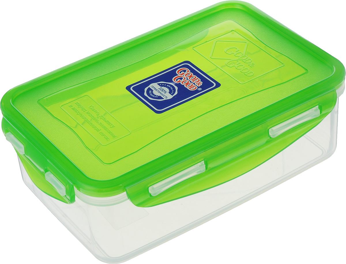 Контейнер пищевой Good&Good, цвет: прозрачный, зеленый, 1,1 лB/COL 3-1_прозрачный, зеленыйПрямоугольный контейнер Good&Good изготовлен из высококачественного полипропилена и предназначен для хранения пищевых продуктов. Благодаря особым технологиям изготовления, изделие в течение срока службы не меняет цвет и не пропитывается запахами. Крышка с силиконовой вставкой герметично защелкивается и дольше сохраняет продукты свежими и вкусными.Контейнер Good&Good удобен для ежедневного использования в быту.Можно мыть в посудомоечной машине и использовать в микроволновой печи при температуре не более 100°С (перед разогревом необходимо снять крышку). Пригоден для хранения в морозильной камере при температуре не ниже -24°С.Размер контейнера (с учетом крышки): 20 х 13 х 7 см.