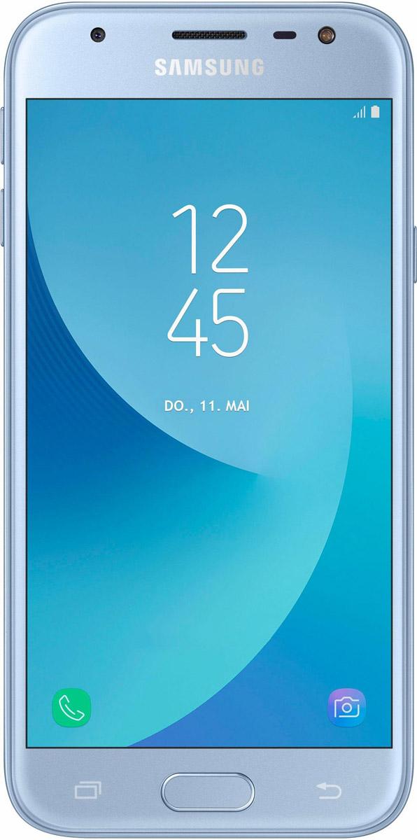 Samsung Galaxy J3 (2017) SM-J330F, BlueSM-J330FZSDSERСмартфон Samsung Galaxy J3 (2017) SM-J330F получил приятный как на вид, так и на ощупь металлический корпус. Сверху и снизу задней панели присутствуют пластиковые вставки под антенны.По центу расположился объектив основной 13-мегапиксельной камеры с диафрагмой f/1.8. Светодиодная вспышка присутствуют как на передней панели, так и задней. Фронтальная камера получила 5-мегапиксельный сенсор с диафрагмой f/2.2.Смартфон работает на процессоре Samsung Exynos 7570. Это четырехъядерное решение, работающее на тактовой частоте 1.4 ГГц. В тандеме с ним функционируют модуль оперативной памяти на 2 ГБ и модуль постоянной на 16 ГБ. За обработку графики отвечает видеоускоритель Mali T720.В устройство встроен LTE-модуль Cat.4, обеспечивающий высокую скорость беспроводной передачи данных (150 Мбит/с). Смартфон оборудован Wi-Fi 802.11n, Bluetooth 4.2, GPS и ГЛОНАСС.Телефон сертифицирован EAC и имеет русифицированный интерфейс меню и Руководство пользователя.Телефон для ребёнка: советы экспертов. Статья OZON Гид