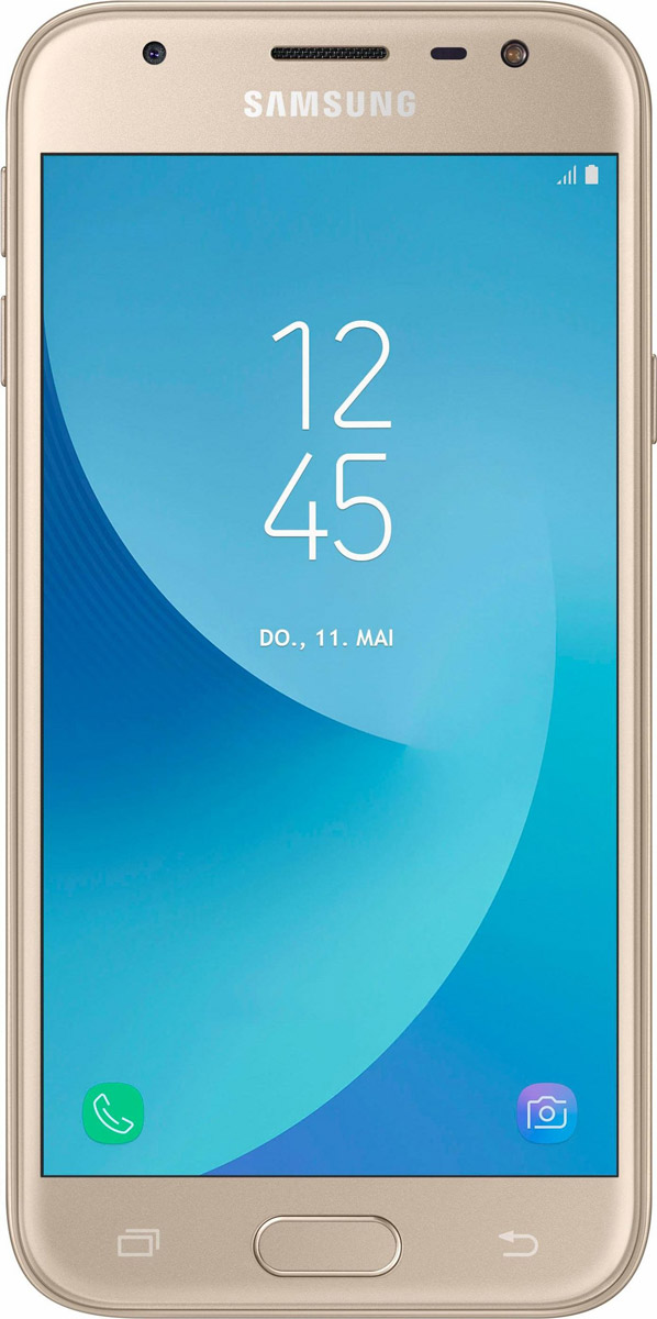 Samsung Galaxy J3 (2017) SM-J330F, GoldSM-J330FZDDSERСмартфон Samsung Galaxy J3 (2017) SM-J330F получил приятный как на вид, так и на ощупь металлический корпус. Сверху и снизу задней панели присутствуют пластиковые вставки под антенны.По центу расположился объектив основной 13-мегапиксельной камеры с диафрагмой f/1.8. Светодиодная вспышка присутствуют как на передней панели, так и задней. Фронтальная камера получила 5-мегапиксельный сенсор с диафрагмой f/2.2.Смартфон работает на процессоре Samsung Exynos 7570. Это четырехъядерное решение, работающее на тактовой частоте 1.4 ГГц. В тандеме с ним функционируют модуль оперативной памяти на 2 ГБ и модуль постоянной на 16 ГБ. За обработку графики отвечает видеоускоритель Mali T720.В устройство встроен LTE-модуль Cat.4, обеспечивающий высокую скорость беспроводной передачи данных (150 Мбит/с). Смартфон оборудован Wi-Fi 802.11n, Bluetooth 4.2, GPS и ГЛОНАСС.Телефон сертифицирован EAC и имеет русифицированный интерфейс меню и Руководство пользователя.Телефон для ребёнка: советы экспертов. Статья OZON Гид