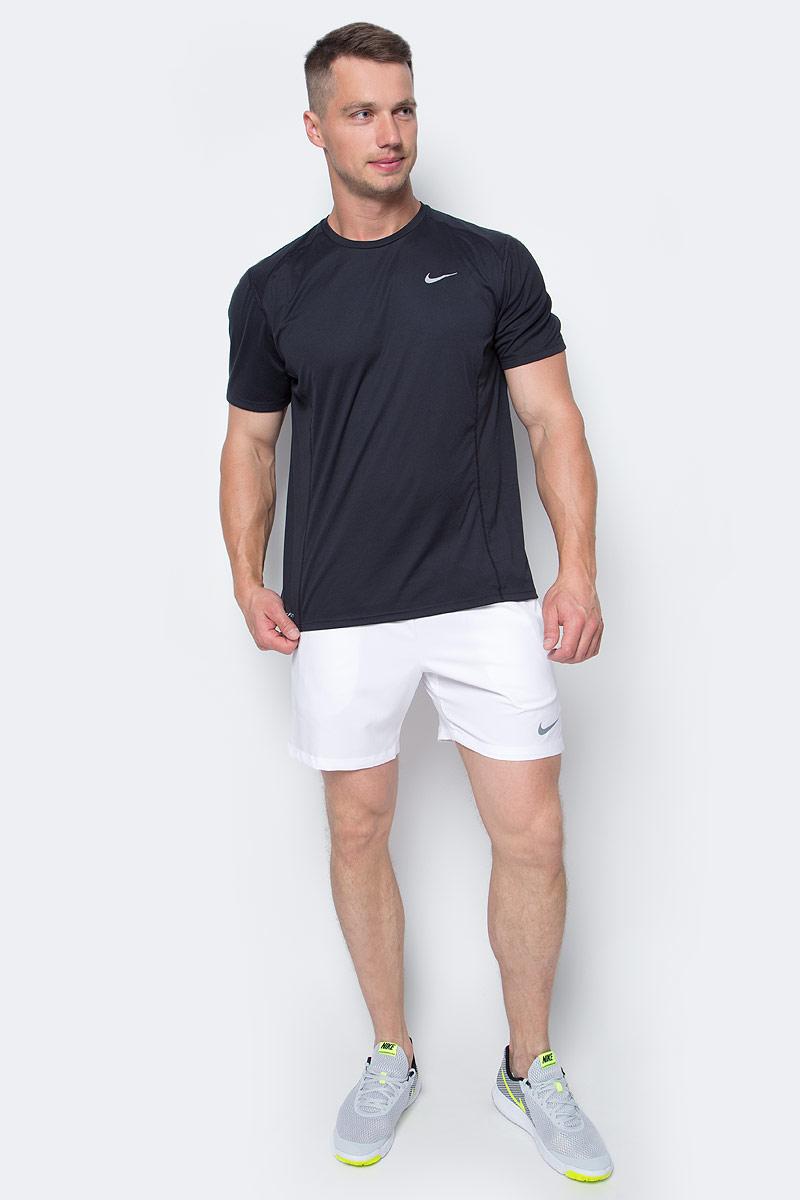 Футболка мужская Nike Df Miler SS, цвет: черный. 683527-010. Размер XL (52/54)683527-010Мужская футболка Df Miler SS от Nike изготовлена из ультрамягкой ткани Dri-Fit. Ткань Dri-Fit обеспечивает воздухопроницаемость и комфорт. Модель с круглым вырезом горловины и короткими рукавами оформлена фирменным логотипом.