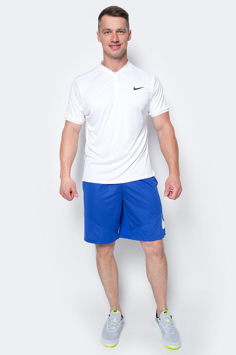 Поло мужское Nike Adv Polo Solid, цвет: белый. 729384-100. Размер S (44/46)729384-100Мужское поло от Nike выполнено из материала Dri-FIT Max и сетчатой ткани, которые поддерживают комфортную температуру тела и обеспечивают комфорт во время тренировки. Материал Dri-FIT Max эффективно отводит влагу, ускоряя высыхание ткани. Модель с воротником-стойкой и короткими рукавами застегивается спереди на пуговицы. Сетка в зонах повышенного тепловыделения улучшает воздухопроницаемость, материал защищает от ультрафиолетовых лучей.