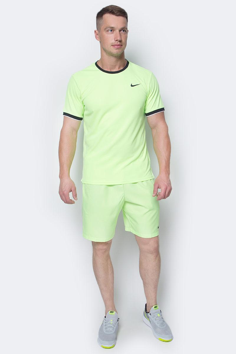 Шорты мужские Nike Court Dry Tennis, цвет: салатовый. 830821-367. Размер XL (52/54)830821-367Мужские шорты Court Dry Tennis от Nike созданы для абсолютной функциональности на корте. Модель выполнена из полиэстера и дополнена глубокими карманами для удобного и надежного хранения мячей. Технология Dri-FIT обеспечивает превосходную воздухопроницаемость и комфорт, выводя влагу на поверхность ткани и позволяя коже дышать. Эластичный воздухопроницаемый пояс с внутренним шнурком для идеальной посадки модели.