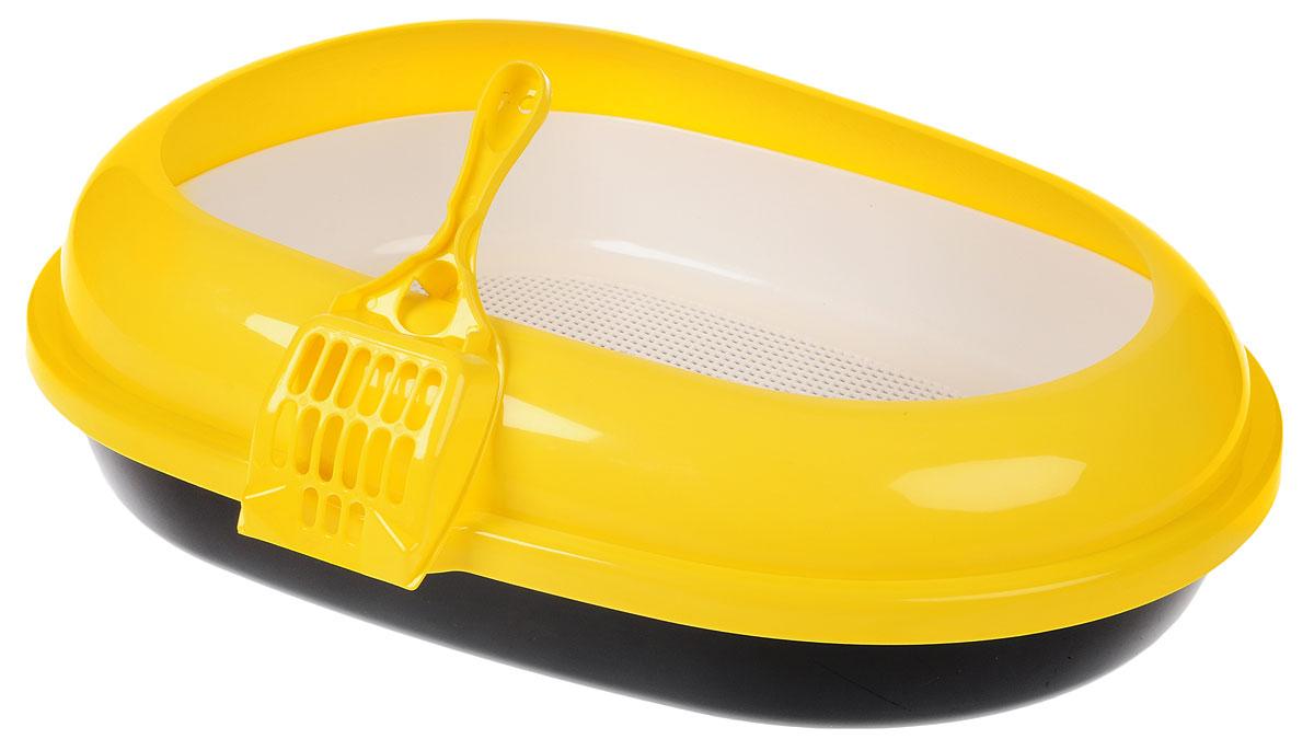 Туалет для кошек  Каскад , с сеткой, с совком, цвет: желтый, черный, белый, 60 х 44 х 17 см - Наполнители и туалетные принадлежности