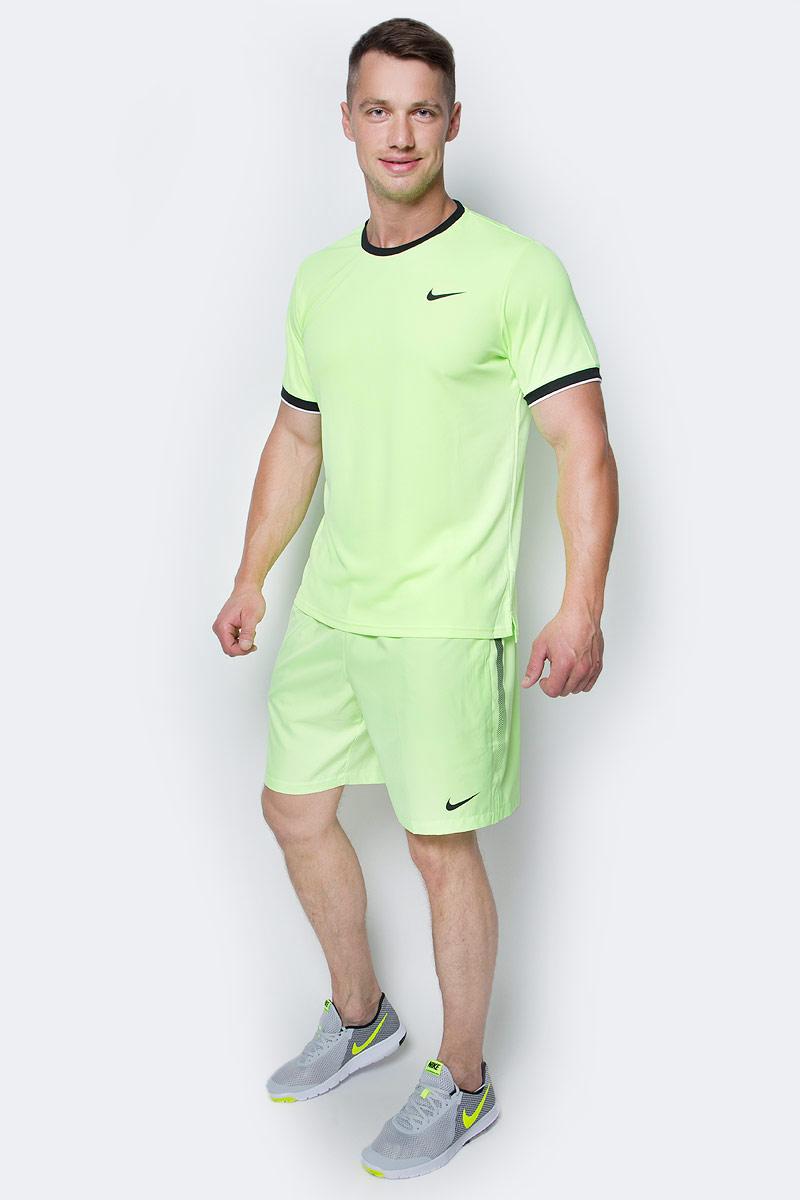 Футболка мужская Nike Court Dry Tennis Top, цвет: салатовый, черный. 830927-367. Размер L (50/52) шорты мужские nike court dry nike