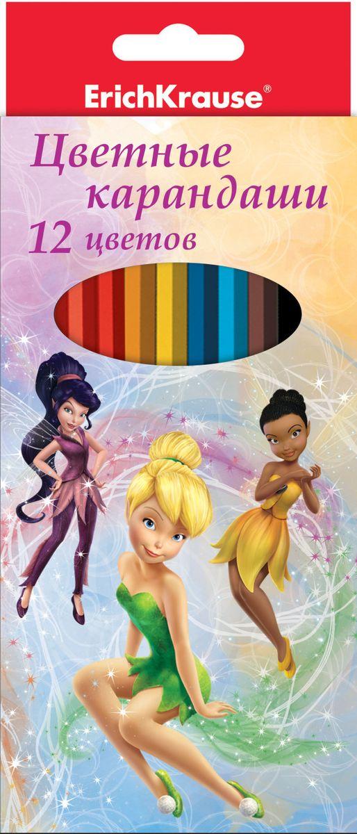 Disney Набор цветных карандашей Феи Цветочная вечеринка 12 цветов43152Цветные карандаши шестигранные. Диаметр грифеля 3мм. Корпус выполнен из качественной древесины - мягкая липа.Легкая заточка. Упаковка - ламинированный картон.
