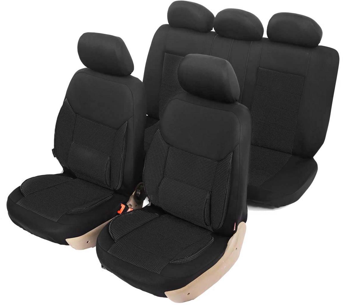 """Чехлы автомобильные универсальные Senator """"California"""", с ортопедической поддержкой, цвет: черный, 11 предметов. Размер M"""