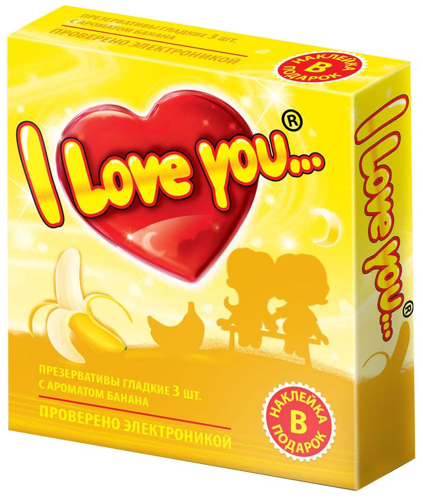 I Love You презервативы с ароматом банана, 3 шт