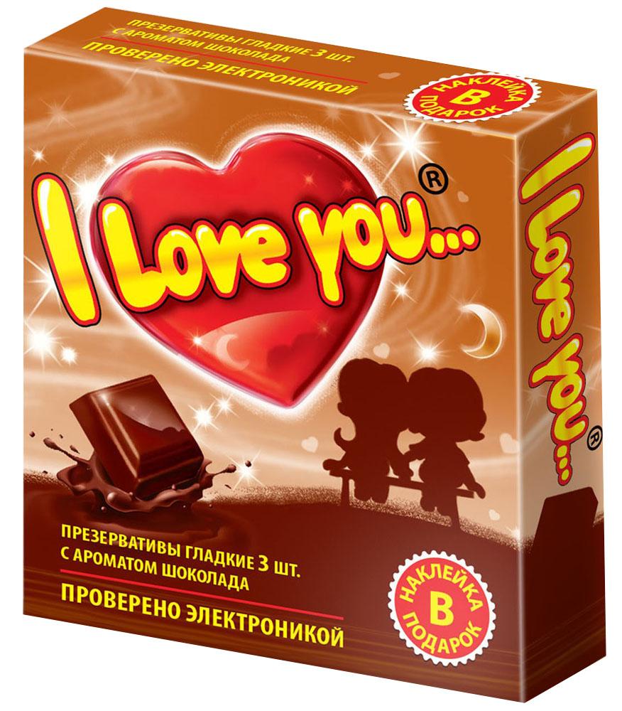 I Love Youпрезервативы с ароматом шоколада, 3 шт I Love You
