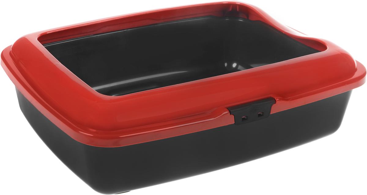 Туалет для кошек Marchioro  Goa 2C , с бортом, цвет: рубиновый, черный, 43 х 33 х 14 см - Наполнители и туалетные принадлежности