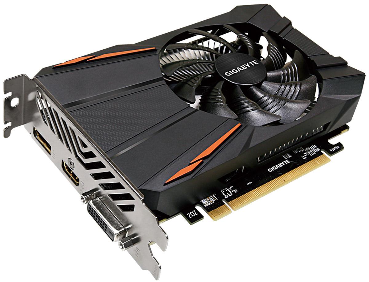 Gigabyte Radeon RX 550 D5 2GB видеокартаGV-RX550D5-2GDВидеокарта Gigabyte Radeon RX 550 D5 создана, чтобы удовлетворить все требования опытных игроков,основанная на решении AMD Radeon и архитектуре GPU — Polaris.Уникальный дизайн лопастей вентилятораВоздушный поток эффективно отводится от радиатора с помощью вентиляторов, лопасти которых, имеютспециальные насечки и форму. Благодаря этим характеристикам удается достичь высокого уровня отвода тепла,при высоких нагрузках и низкой температуре. Тесты показали эффективность выше на 23%.3D Active FanИспользуется полупассивный режим работы, вентиляторы останавливают свою работу, если температура чипа невысокая, или нет достаточной нагрузки. Разгон в одно нажатиеОдним простым действием в программном обеспечении Xtreme Engine, игроки могут легко настроить карту такимобразом, чтобы удовлетворить различные игровые требования без специальных знаний.Надежные и долговечные компонентыПри производстве карты используются дроссели и конденсаторы высокого качества, благодаря этому фактуграфическая карта обеспечивает выдающуюся производительность и долговечность системы.