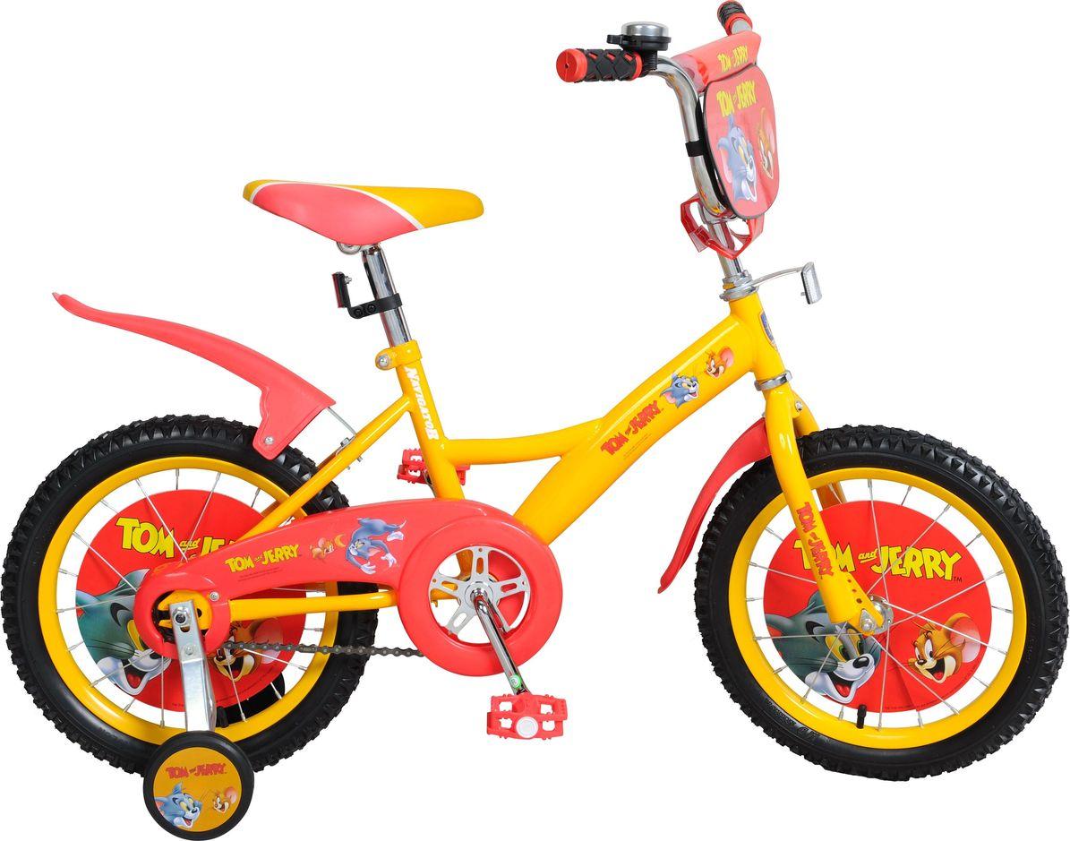 Велосипед детский Navigator Том и Джерри, цвет: желтый, 16. ВН16114 navigator самокат двуколесный цвет черный оранжевый