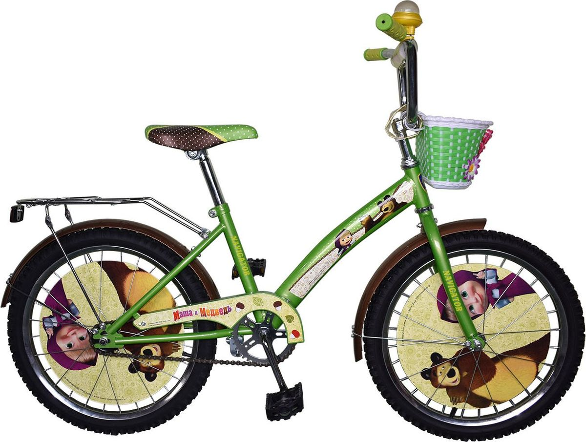 Велосипед детский Navigator Маша и Медведь, цвет: зеленый, 20. ВН20171КВН20171КВелосипед 20 дюймов Navigator(2017) Маша и Медведь с персонажами из любимого мультфильма