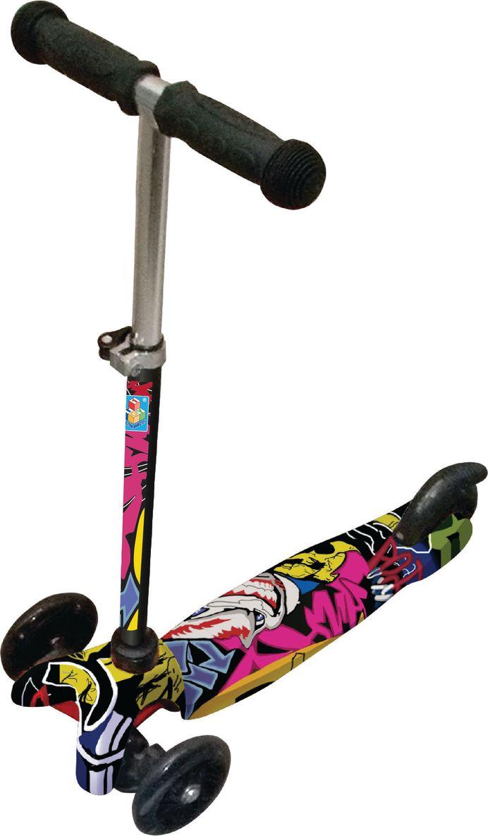 """Самокат детский """"1 Toy"""", трехколесный, со светящимися колесами, с регулируемой ручкой, цвет: черный, фуксия, 1TOY"""
