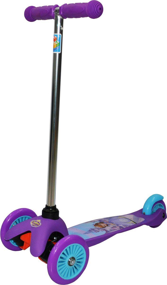 Самокат детский 1TOY София Прекрасная, трехколесный, цвет: фиолетовыйТ59560Самокат от бренда 1TOY представляет собой современный детский скоростной транспорт, сочетающий в себе скейт и классический самокат. Такой самокат характеризуется наличием широкой платформы, двух передних колес и управлением ножным наклоном, что отличает его от обычного самоката. Однако им можно управлять и классическим Т-образным рулем, выступающего в роли своеобразного джойстика. Таким образом, самокат-кикборд является чувствительным к движениям ребенка и может развивать более высокую скорость, что подарит юному кикбордисту неподдельное чувство радости и свободы. Данное детское транспортное средство привлечет внимание ребенка благодаря современному дизайну и стильному яркому оформлению. У этого самоката легкая металлическая конструкция, имеется ножной тормоз на заднем колесе, удобные ручки и антискользящая платформа.