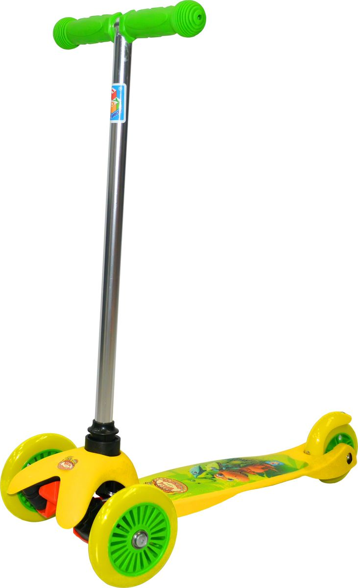 Самокат детский 1TOY Поезд Динозавров, трехколесный, цвет: желтыйТ59Самокат от бренда 1TOY представляет собой современный детский скоростной транспорт, сочетающий в себе скейт и классический самокат. Такой самокат характеризуется наличием широкой платформы, двух передних колес и управлением ножным наклоном, что отличает его от обычного самоката. Однако им можно управлять и классическим Т-образным рулем, выступающего в роли своеобразного джойстика. Таким образом, самокат-кикборд является чувствительным к движениям ребенка и может развивать более высокую скорость, что подарит юному кикбордисту неподдельное чувство радости и свободы. Данное детское транспортное средство привлечет внимание ребенка благодаря современному дизайну и стильному яркому оформлению. У этого самоката легкая металлическая конструкция, имеется ножной тормоз на заднем колесе, удобные ручки и антискользящая платформа.