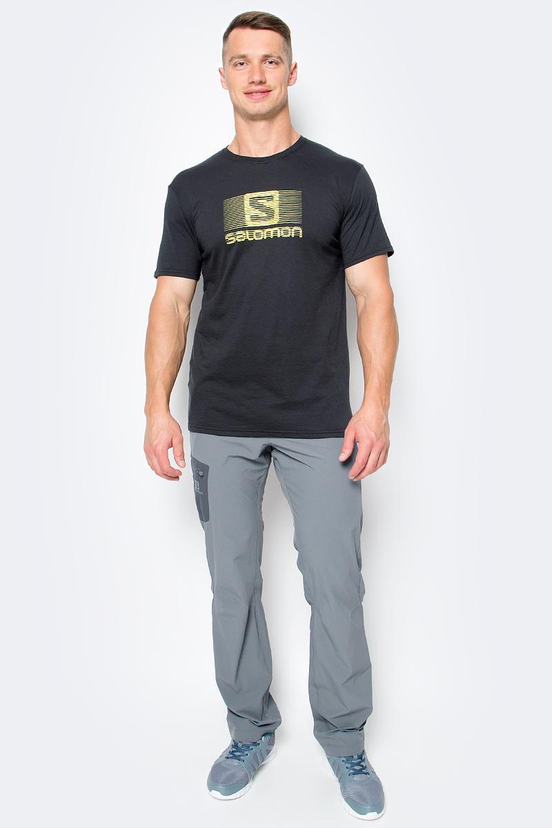 Футболка мужская Salomon Blend Logo SS Tee, цвет: черный. L39373700. Размер XXL (60) футболка salomon футболка ski graphic ss tee m black
