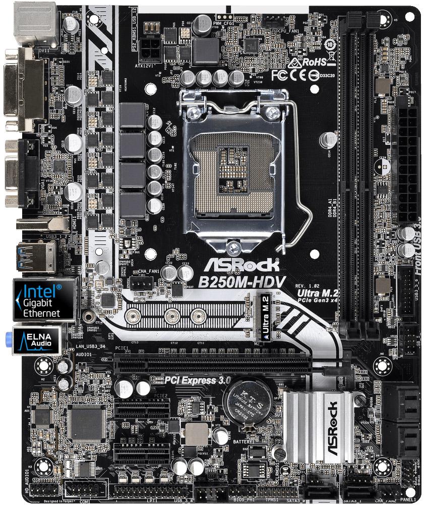 ASRock B250M-HDV материнская платаB250M-HDVПриготовьтесь к путешествию в безграничный мир виртуальной реальности с материнской платой ASRock B250M-HDV.Высочайшее качество изделия подтверждено всесторонними проверками на стадии разработки. Надёжные компоненты и молниеносная скорость работы обеспечат глубокое погружение в мир ВР.Интерфейс PCIe Gen3 x4 Ultra M.2 обеспечивает передачу данных на скорости до 32Gb/s. Кроме того, он поддерживает модули SATA3 6Gb/s M.2 и совместим с комплектом ASRock U.2 Kit для установки супербыстрых накопителей U.2 PCIe Gen3 x4 SSD.Сетевой модуль Intel LAN обеспечивает лучшую пропускную способность, низкую загрузку CPU, повышенную стабильность и выводит работу в Сети на качественно новый уровень!POOL (Planes On Outer Layers) - это технология, которая позволяет 4-слойным платам использовать микро-маршрутизацию, что улучшает электрические характеристики и производительность.Поддерживается технология работы с памятью и накопителями Intel Optane, которая задаёт новые стандарты производительности и отзывчивости.ASRock UEFI - это удобный и простой в использовании BIOS с поддержкой мыши. Для опытных пользователей и оверклокеров предусмотрен расширенный режим. Режим EZ - это информационная панель состояния системы. Она показывает информацию о состоянии CPU, DRAM, SATA, работе вентилятором и о других компонентах системы.В отличие от обычных плат, где применяются аналоговые схемы питания, в этой плате использована технология цифровой широтно-импульсной модуляции (ШИМ) нового поколения, которая обеспечивает более эффективное и равномерное питание CPU, что значительно повышает стабильность и срок службы материнской платы.На борту есть три самых распространенных видеовыхода: D-Sub + DVI + HDMI! Кроме того, порт HDMI поддерживает вывод видео в формате 4K.