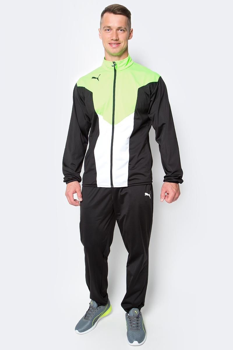 Костюм спортивный мужской Puma ftblTRG Poly Tracksuit, цвет: черный, салатовый. 655202_50. Размер S (44/46) спортивный костюм мужской puma ftbltrg woven tracksuit цвет серый черный 65535003 размер xxl 52 54