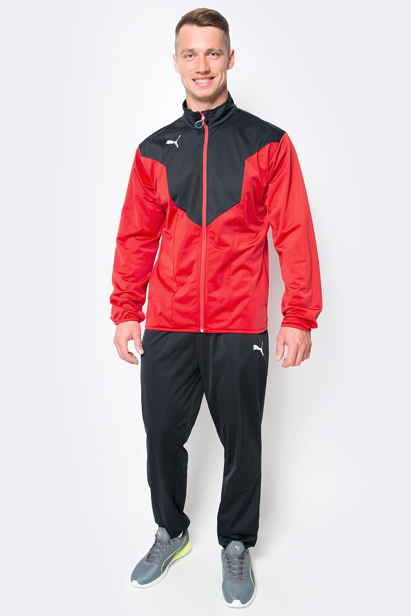 Костюм спортивный мужской Puma ftblTRG Poly Tracksuit, цвет: красный, черный. 655202_14. Размер M (46/48) спортивный костюм мужской puma ftbltrg woven tracksuit цвет серый черный 65535003 размер xxl 52 54