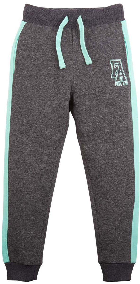 Брюки спортивные для девочки Free Age, цвет: зеленый, серый меланж. ZG 10251-DMT-2. Размер 128, 7 лет