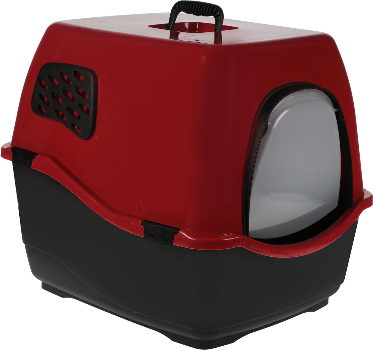 Туалет для кошек Marchioro  Bill 2F , цвет: рубиновый, черный, 57 х 45 х 48 см - Наполнители и туалетные принадлежности