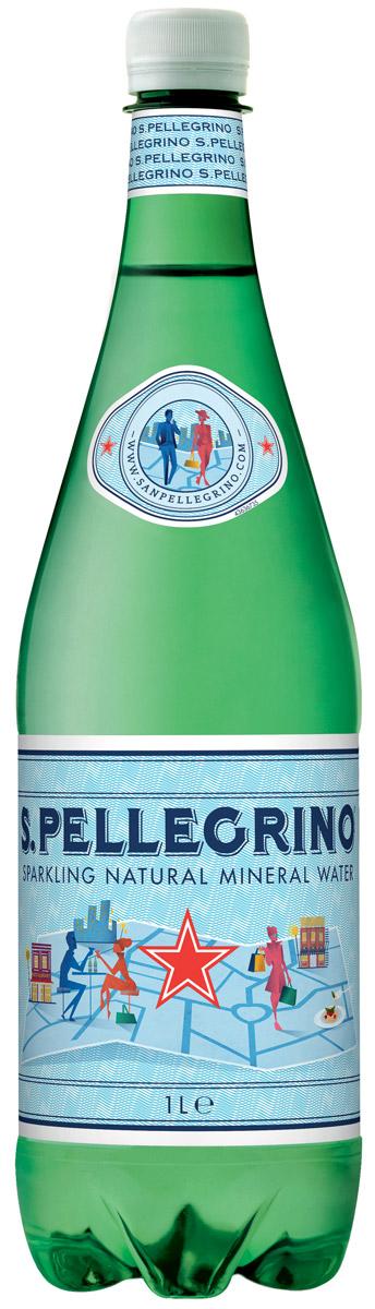 San Pellegrino вода минеральная газированная гидрокарбонатно-сульфатная магниево-кальцевая, 1 л