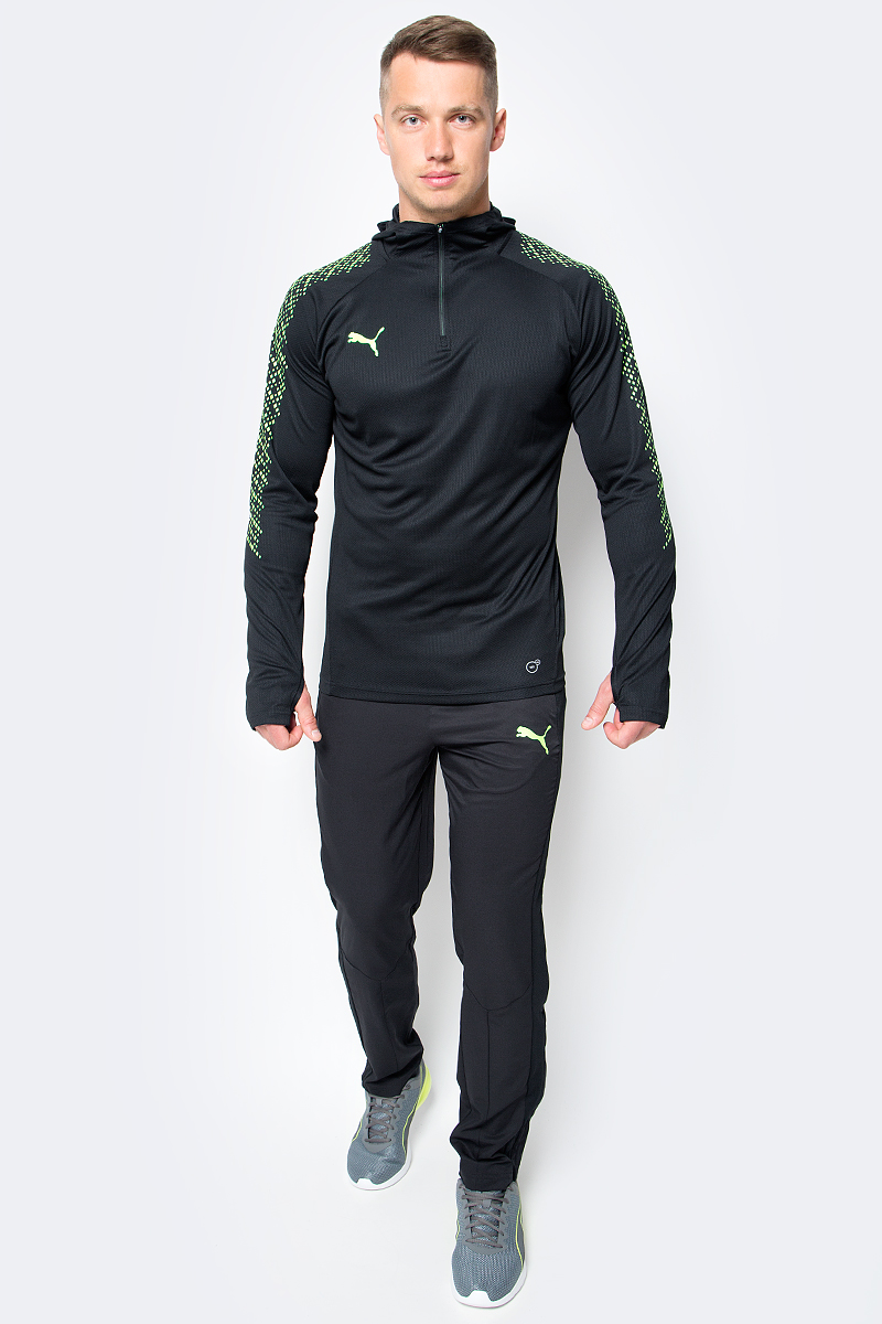 Брюки спортивные мужские Puma IT evoTRG Woven Pant, цвет: черный. 65517750. Размер L (48/50) брюки спортивные мужские puma ftbltrg pant цвет черный 65536703 размер xl 50 52