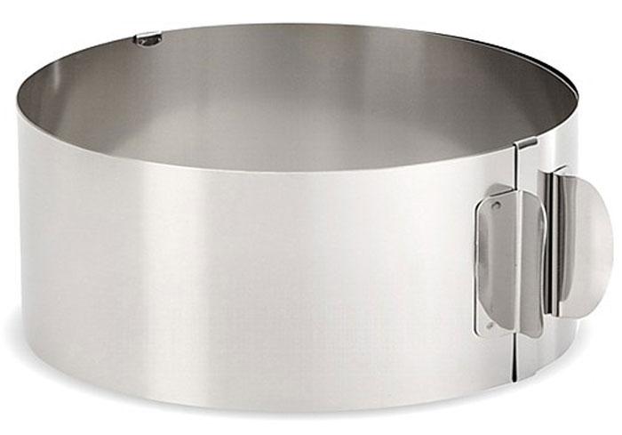Форма для выпечки Мультидом, круглая, регулируемая, диаметр 16-30 смAN8-25Кольцо-трансформер решает проблему выбора размера формы раз и навсегда. Используется для выпечки коржей, диаметром от 15 до 30 см. Внутренняя сторона формы снабжена шкалой в сантиметрах, для возможности регулировки размера блюда. Блюда не пригорают, легко отстают от стенок формы. Однако для жидкого теста используйте фольгу или пергамент внутри формы. Используйте для выпечки коржей торта, хлеба или бисквита; тушения или запекания в духовке мясных, рыбных и овощных блюд, приготовления суфле, желе или пастилы; для сервировки закусок, гарниров и десертов; сборки бутербродов и канапе; приготовления аккуратного омлета или глазуньи. Изготовлено из нержавеющей стали.Высота: 8,5 см. Можно мыть в посудомоечной машине.