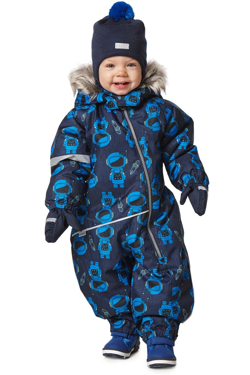 Комбинезон утепленный детский Lassie, цвет: темно-синий, голубой. 7107146962. Размер 86 комбинезон детский lassie цвет сиреневый темно синий 720703r5691 размер 86