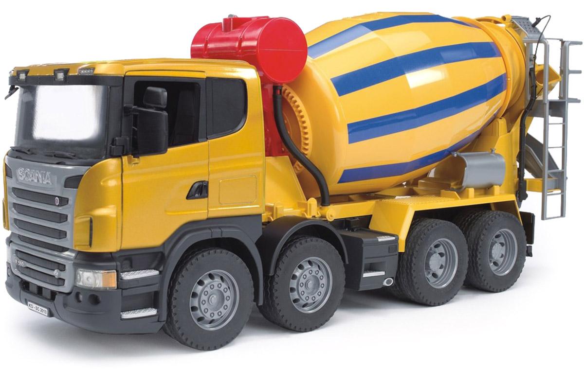 Bruder Бетономешалка Scania цвет желтый синий bruder лесовоз scania