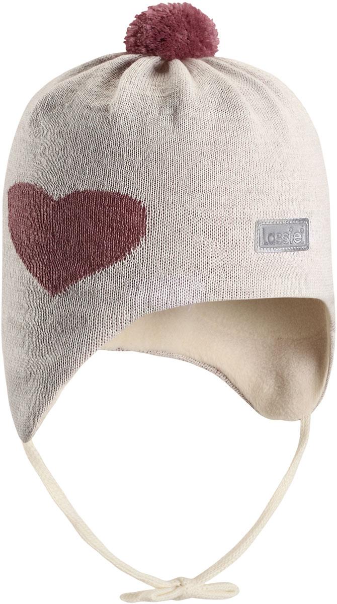 Шапка для девочки Lassie Сердечко, цвет: молочный. 7187250160. Размер 42/44 облегающая шапка с металлическим декором gaudi облегающая шапка с металлическим декором