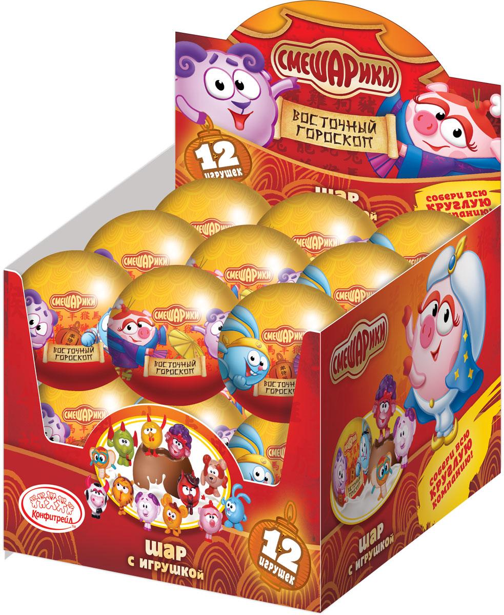 Смешарики молочный шоколад с сюрпризом, 18 шт по 25 гУТ19517Персонажи – символы года. 12 игрушек в коллекции.