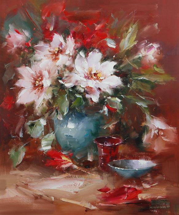 Картина Праздничный букет. Холст, масло. 60х50 см живопись на цветном холсте стоянка гондол венеция 40 х 50 см