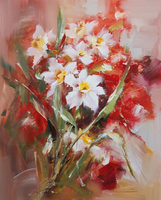 Картина Букет цветов. Холст, масло. 60х50 см живопись на цветном холсте стоянка гондол венеция 40 х 50 см
