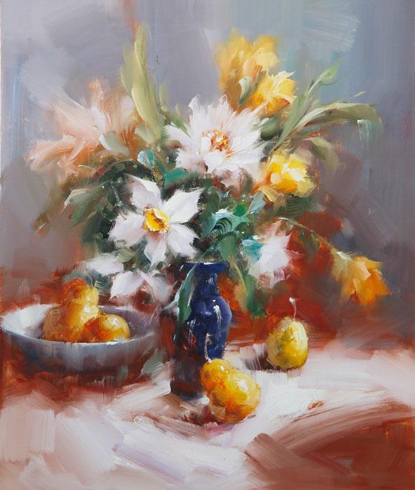 Картина Нарциссы. Холст, масло. 60х50 см живопись на цветном холсте стоянка гондол венеция 40 х 50 см