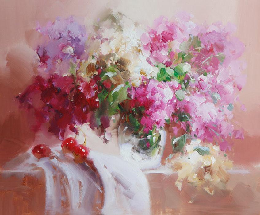 Картина Сирень. Холст, масло. 50х60 см живопись на цветном холсте стоянка гондол венеция 40 х 50 см