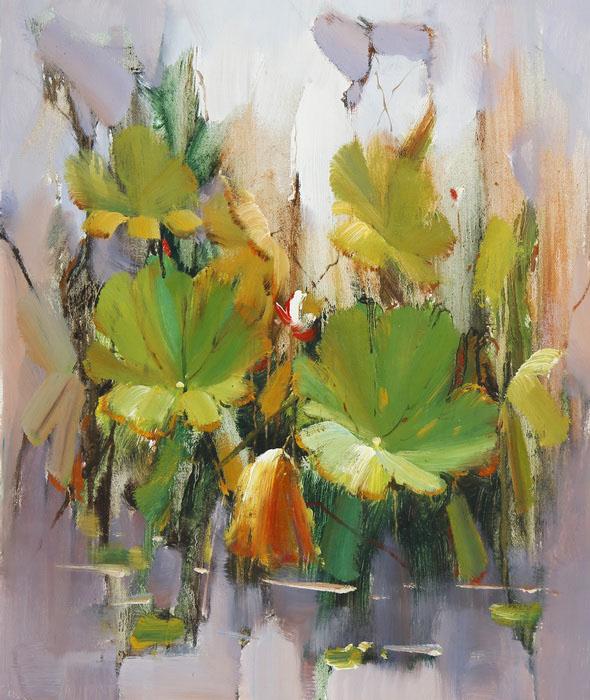 Картина Лотосы в пруду. Холст, масло. 60х50 см василий алферов на исходе лета