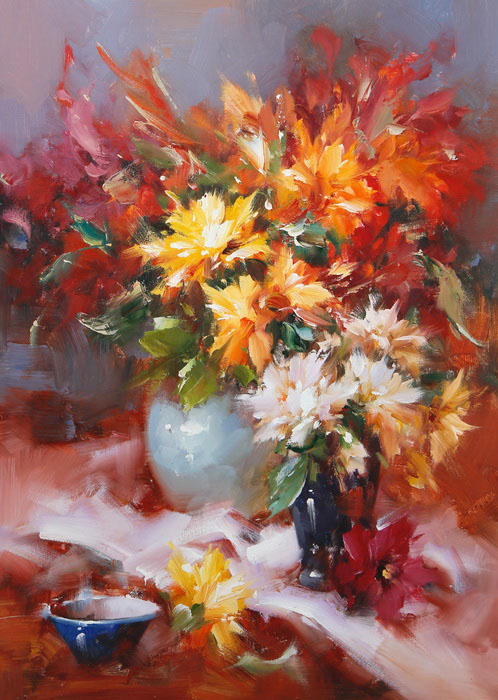 Картина Осенний натюрморт. Холст, масло. 70х50 см живопись на цветном холсте стоянка гондол венеция 40 х 50 см